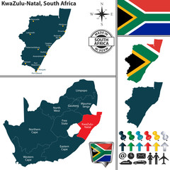 Map of KwaZulu Natal, South Africa