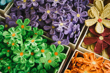 Colorful artificial Flowers from mulberry paper.