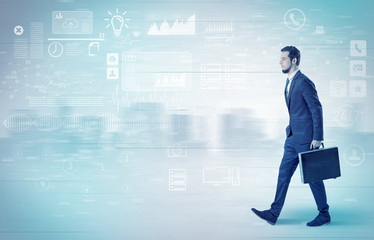 Businessman walking with database concept around