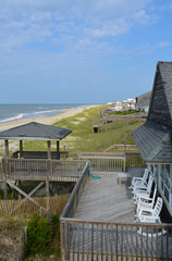 Deck overlooking the Atlantic Ocean at a beach house in North Carolina.