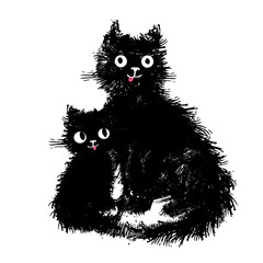 Mama cat and her baby kitten sitting