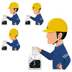 Set of worker is checking in   with the dial time recorder in the morning