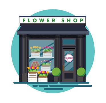 Flower shop. Facade of an flower shop. Illustration of an flower shop in a flat style. Vector illustration Eps10 file