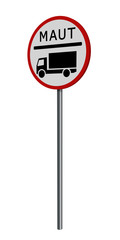 deutsches Verkehrszeichen: LKW Maut, auf weiß isoliert. 3d render