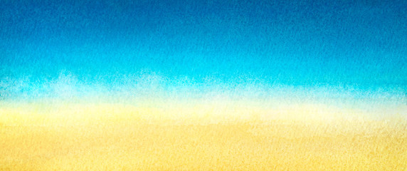Web banner light blue to warm yellow abstract sea and beach gradient painted in watercolor on clean white background