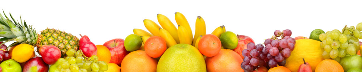 Collection fruits isolated on white background. Panoramic collage. Wide photo with free space for text.