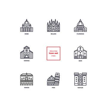 Italian cities icons set.