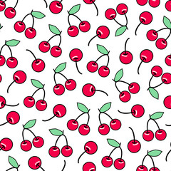 Sweet red ripe cute cherries seamless pattern. Vector design for textile, wrapping, wallpapers, etc.