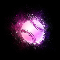 Baseball Ball flying in violet particles isolated on black background. Sport competition concept for baseball tournament poster, placard, card or banner.