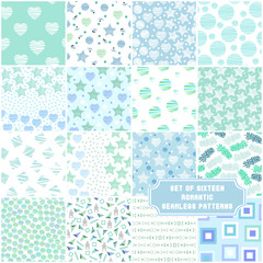 Set of 16 sweet mint green seamless patterns. Collection of vector backgrounds with abstract elements. Ideal for baby shower, mother's day, valentine's day, invitations, wedding design, etc.