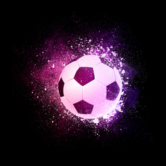 Soccer football ball flying in violet particles isolated on black background. Sport competition concept for baseball tournament poster, placard, card or banner.