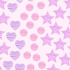 Simple seamless geometric pattern with stars, circles, hearts on baby-pink background. Vector illustration for home and fashion design, nursery, bed linen, apparel, underwear, etc.