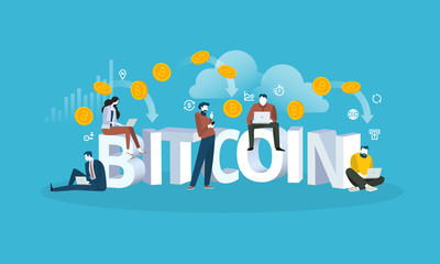 Bitcoin cloud mining. Flat design style web banner of blockchain technology, bitcoin, altcoins, cryptocurrency mining, finance, digital money market, cryptocoin wallet, crypto exchange.