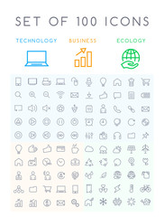 Set of 100 Minimal Modern Elegant White Stroke Icons ( Interface Multimedia Business and Ecology )