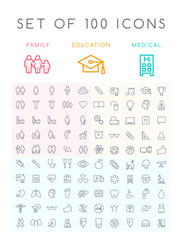Set of 100 Universal Minimal Black Stroke Icons ( Education School Family People and Medical )