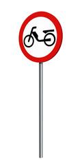deutsches Verkehrszeichen (Verkehrsverbote): Verbot für Mofas, auf weiß isoliert. 3d render