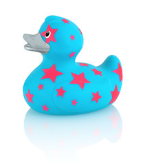 Blue rubber duck with pink stars bath toy isolated on a white background with shadow reflection.