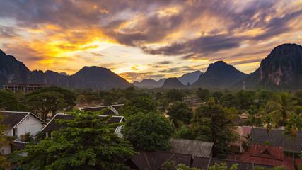 Landspace view panorama at Sunset in Vang Vieng, Laos.
