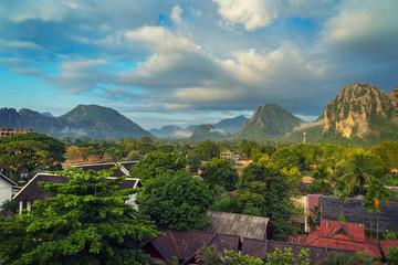Landspace view panorama at monring in Vang Vieng, Laos.
