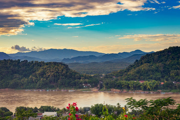 Landspace for viewpoint at sunset in Luang Prabang, Laos.