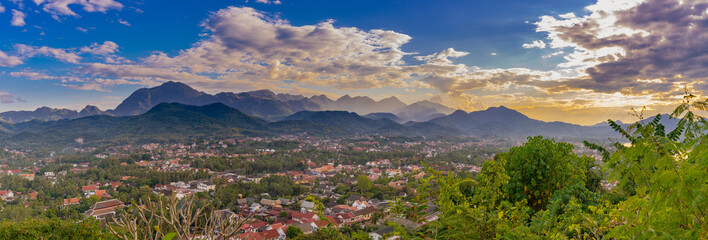 Landspace for panorama at sunset in Luang Prabang, Laos.