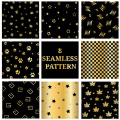 Set of 8 gold seamless patterns collection. Seamless pattern
