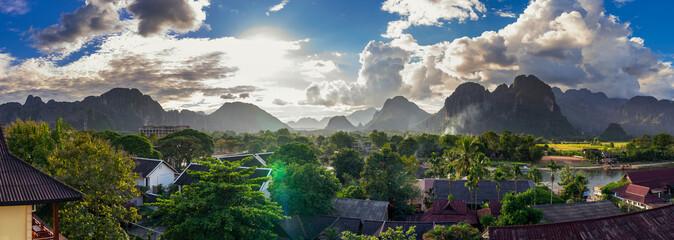 Landspace view panorama in Vang Vieng at Laos.