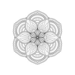 Monochrome ethnic mandala design.