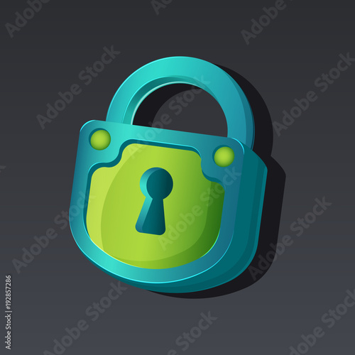 Game icon of padlock in cartoon style  Bright design for app
