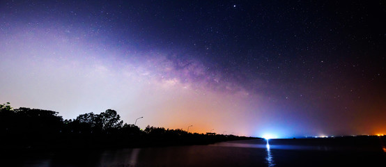 Panorama view of milky way on the sky