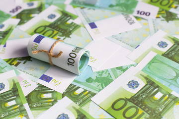 background of Euro currency, Euro rolls