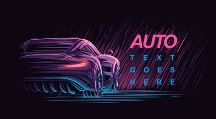 Neon modern car illustration. Vector.