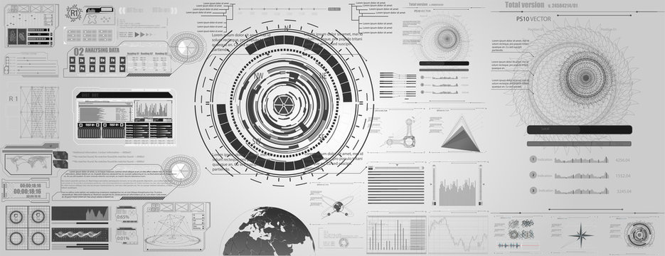 set of black and white infographic elements. Head-up display elements for the web and app. Futuristic user interface.