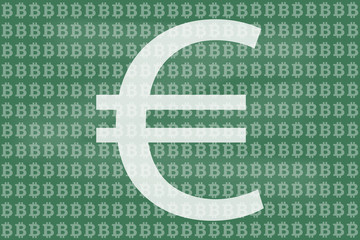 Chalkboard bitcoin and euro sketch