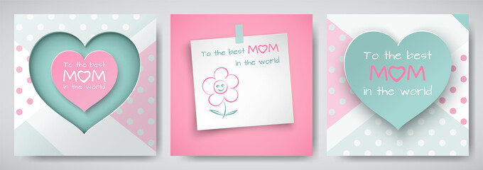 Set of green and pink greeting card for mother's day, sheet of paper with сongratulations text and flower, cuted heart with dotted background, paper cut style. Vector illustration, layers isolated