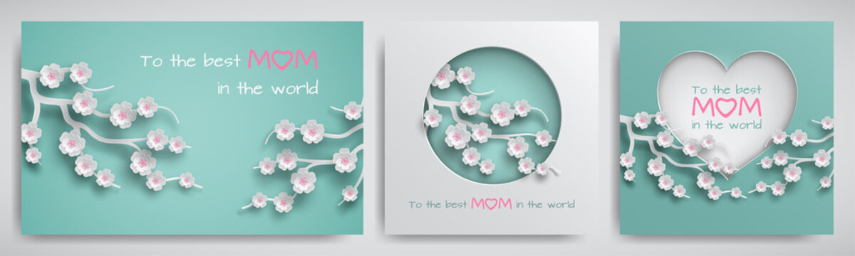 Set of greeting card for mother's day with congratulations text. Cuted paper circle and heart decorated branch of cherry flowers on green background, paper cut style. Vector illustration