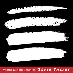 Set of White Hand Drawn Grunge Brush Smears. Vector illustration.