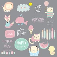 Cartoon icon collection with lion,cloud,ice cream,bear,watermelon,fox and balloon