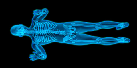 Top view of a transparent male body doing push-ups