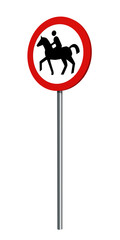 deutsches Verkehrszeichen (Verkehrsverbote): Verbot für Reiter, auf weiß isoliert. 3d render