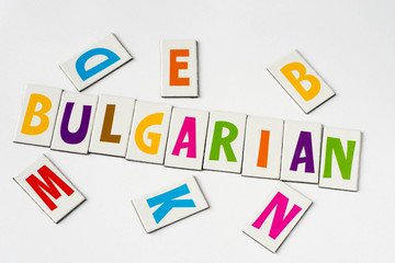 word Bulgarian made of colorful letters