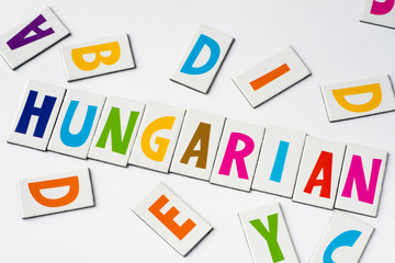 word Hungarian made of colorful letters