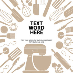 Poster design for cooking or baking in simple style with space for text your word. Background template for advertisement or cover.