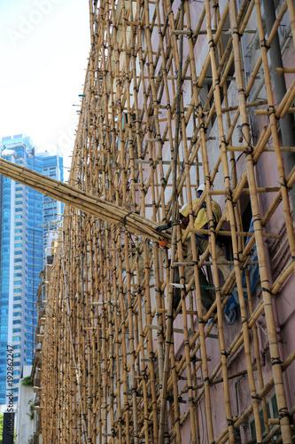 Hong Kong Baustelle An Einem Hochhaus Mit Gerust Aus Bambus Stock