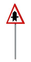 deutsches Verkehrszeichen: Vorfahrtsstraße, auf weiß isoliert. 3d render