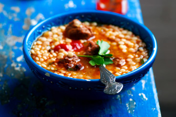 moroccan meatball couscous soup.