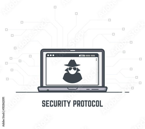 Data security concept  Laptop with mysterious anonymous hacker icon