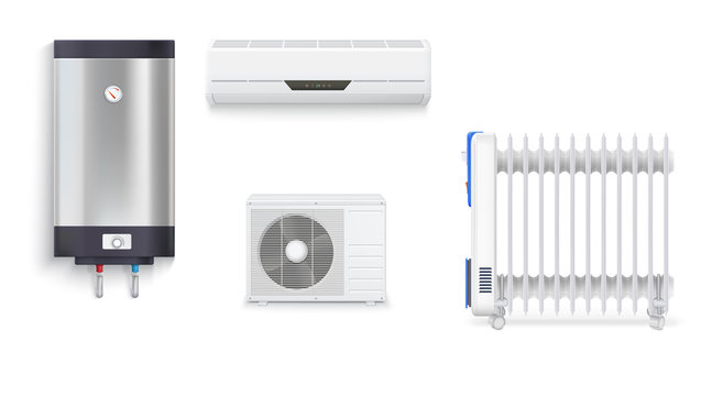 Electric oil radiator, air conditioning, water heater with chrome metal of front side, oil filled heater isolated. Set icons of household appliances on a white background. 3D illustration