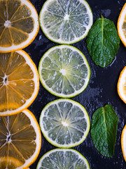 Citrus fruits limes and lemons