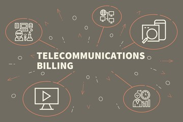 Business illustration showing the concept of telecommunications billing